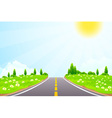 Green landscape with trees clouds flowers and road vector