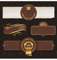 Set of leather golden framed labels vector
