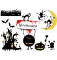 Set of halloween objects vector