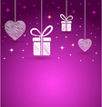 Hearts and gift box shape greeting card vector