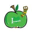 Worm in the apple color vector