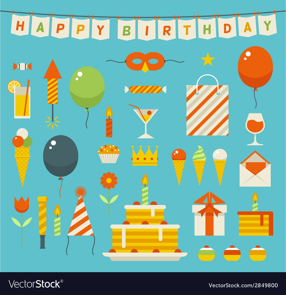 Birthday party flat icons vector | Price: 1 Credit (USD $1)