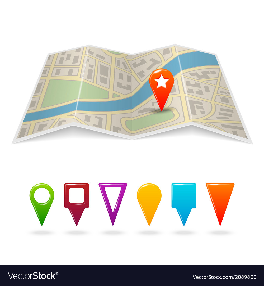 City map with pins vector | Price: 1 Credit (USD $1)