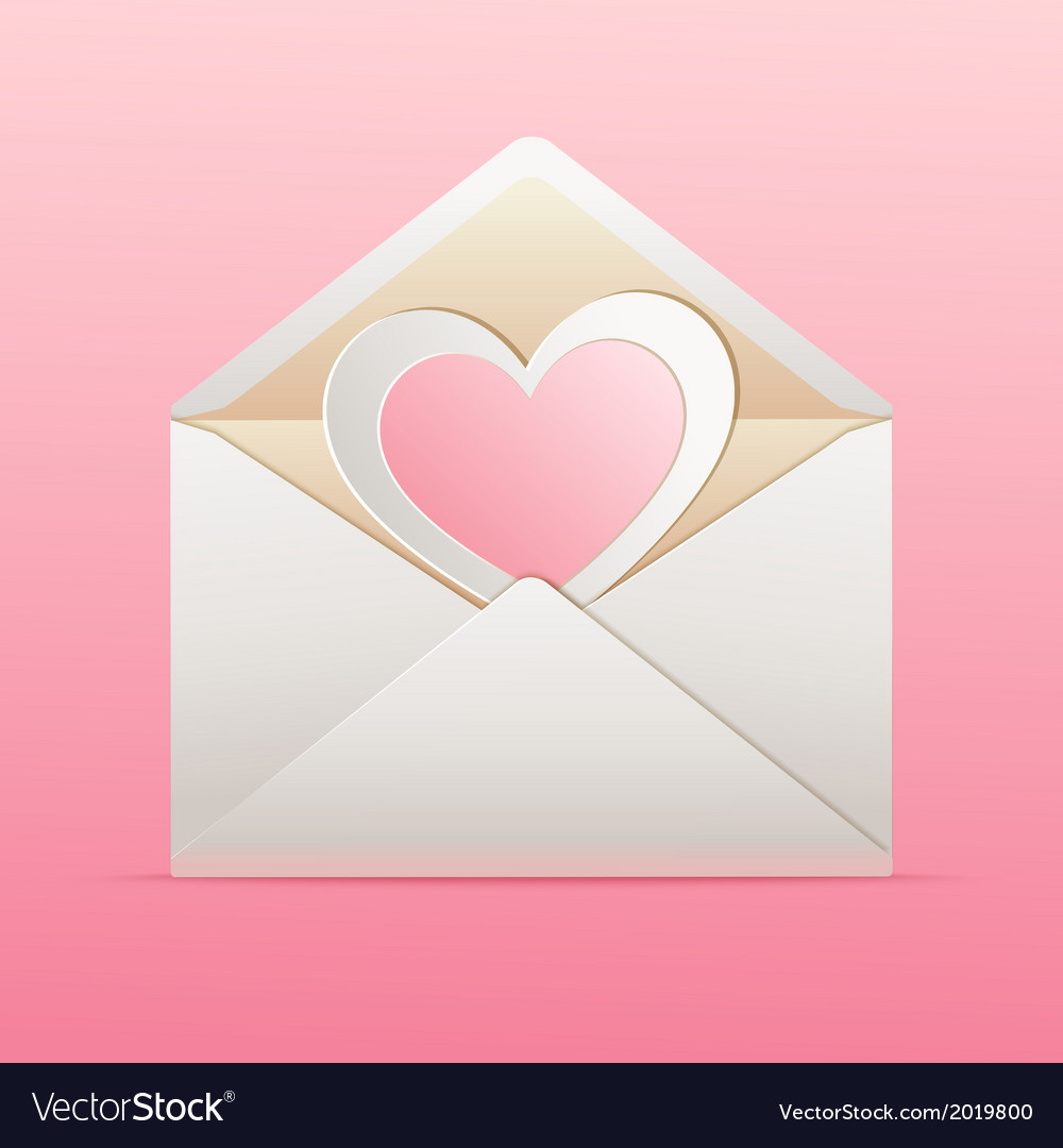 Envelope with paper heart inside vector | Price: 1 Credit (USD $1)