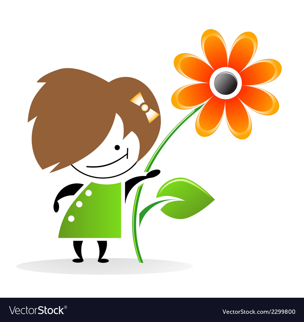 Girl with flower eps vector | Price: 1 Credit (USD $1)