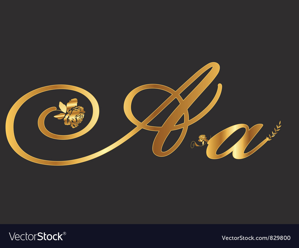 Gold letter a with roses vector | Price: 1 Credit (USD $1)