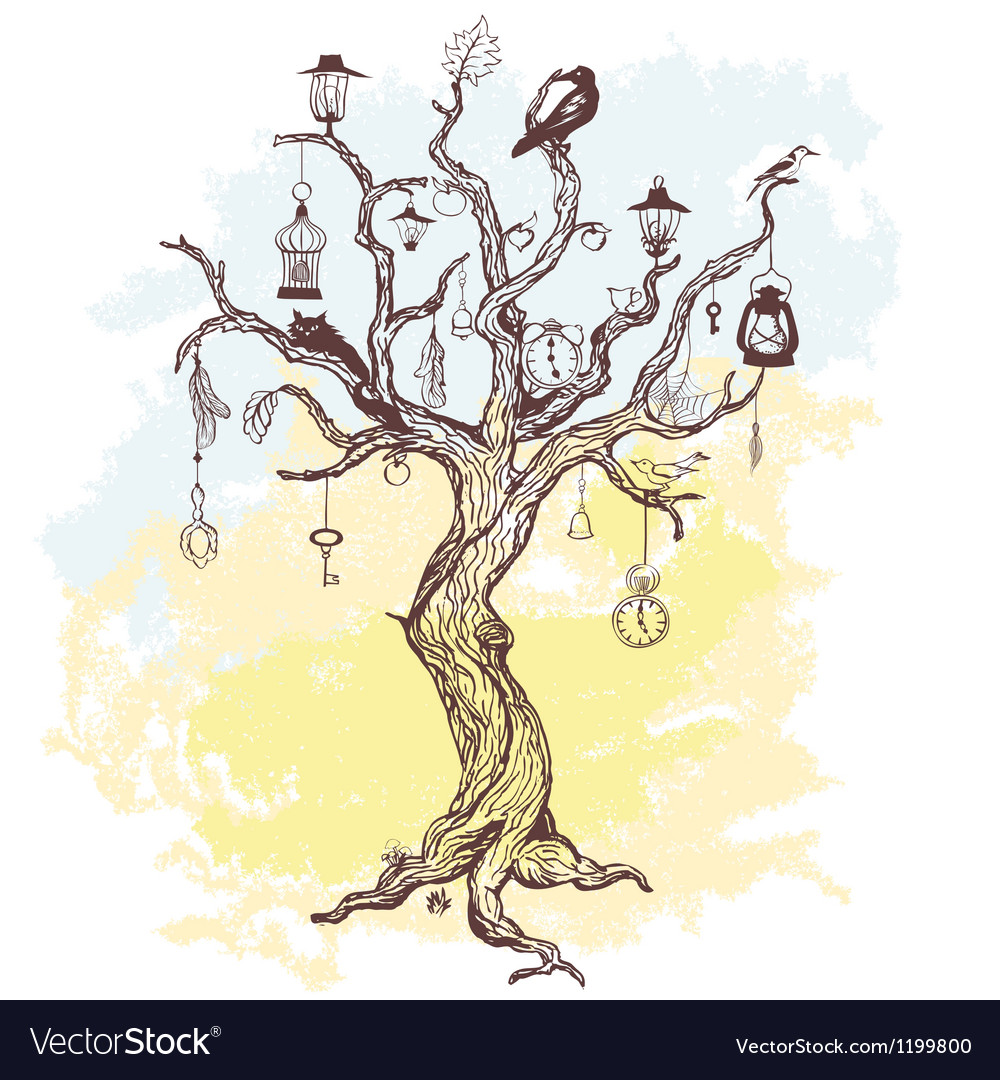 Grungy background with handwritten magic tree vector | Price: 1 Credit (USD $1)