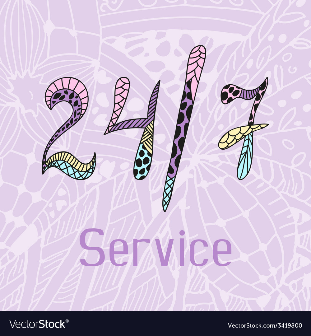 Hand drawn doodle service around the clock vector | Price: 1 Credit (USD $1)