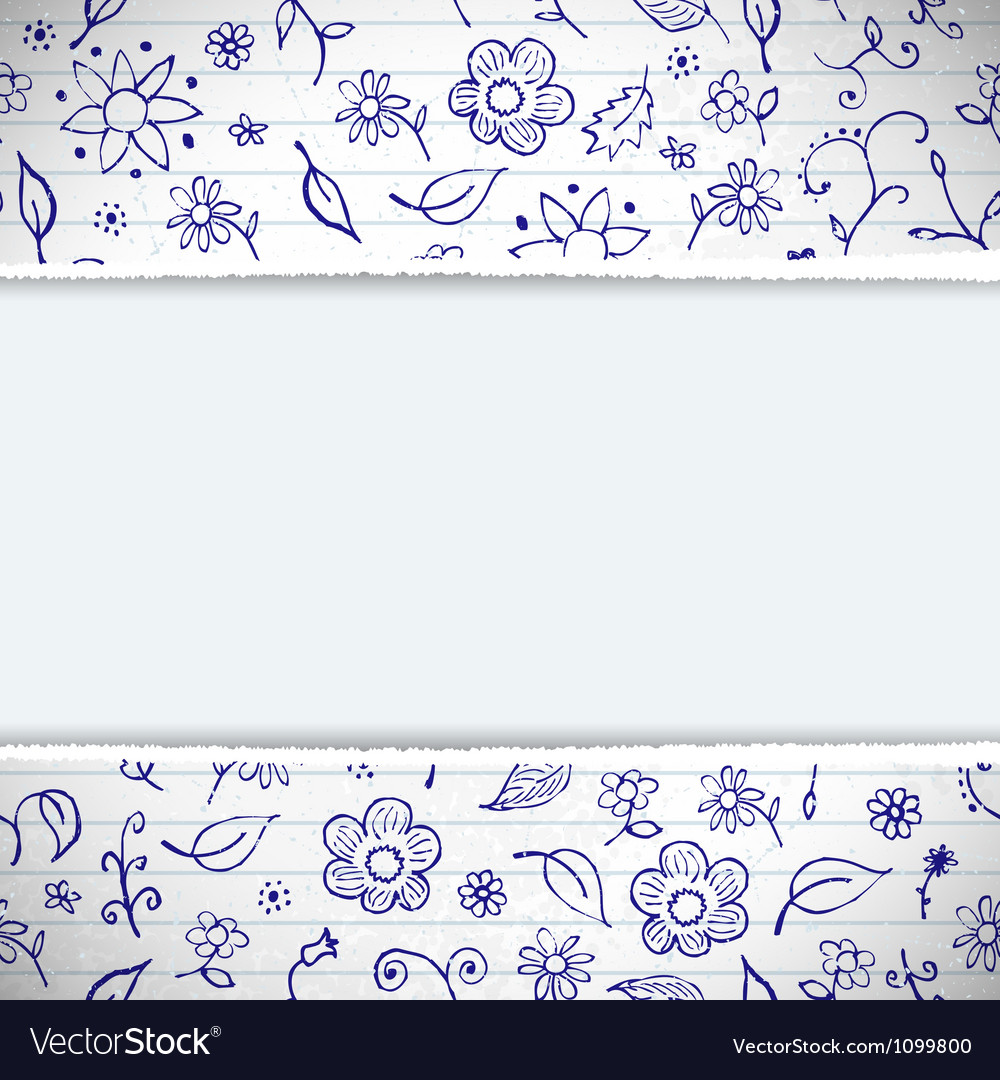 Hands drawn sketchy floral doodles background vector   Price: 1 Credit (USD $1)