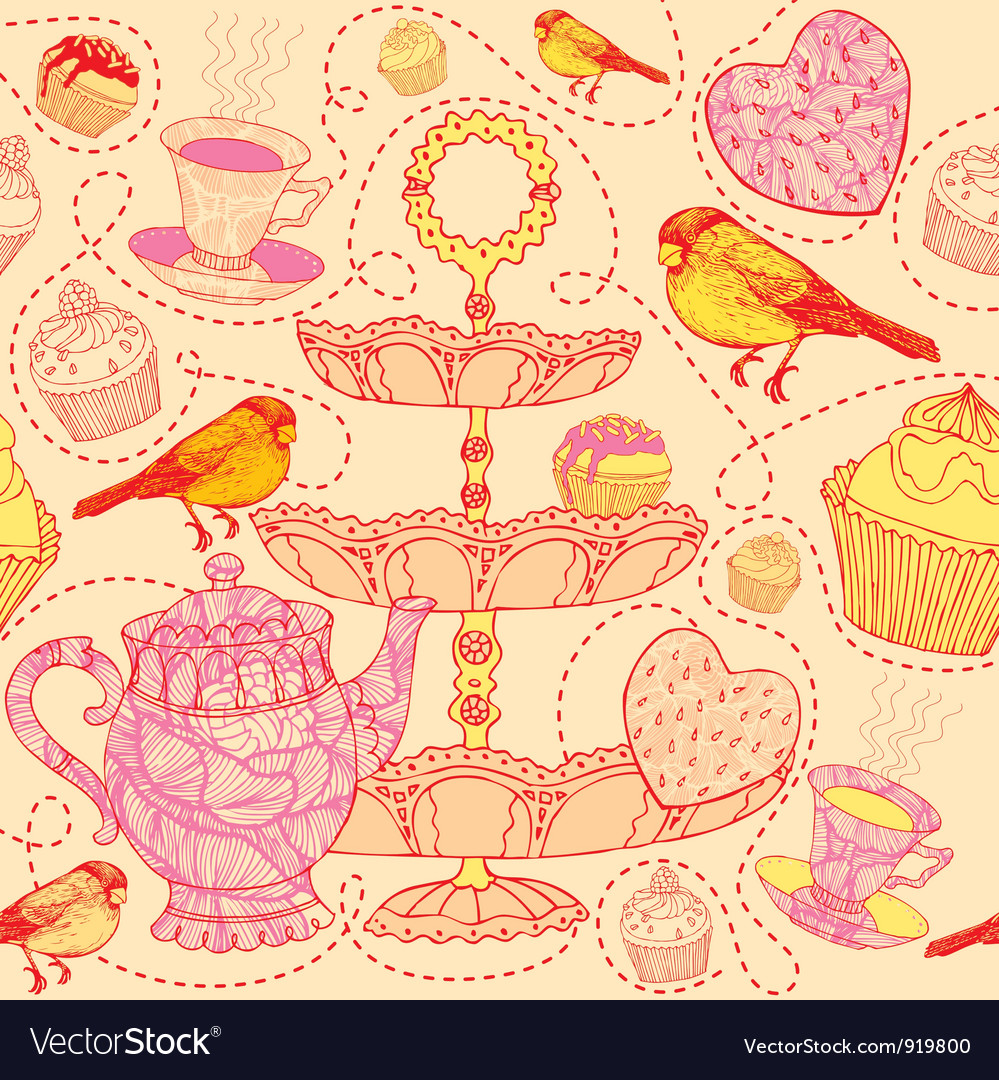 High tea pattern background vector | Price: 1 Credit (USD $1)