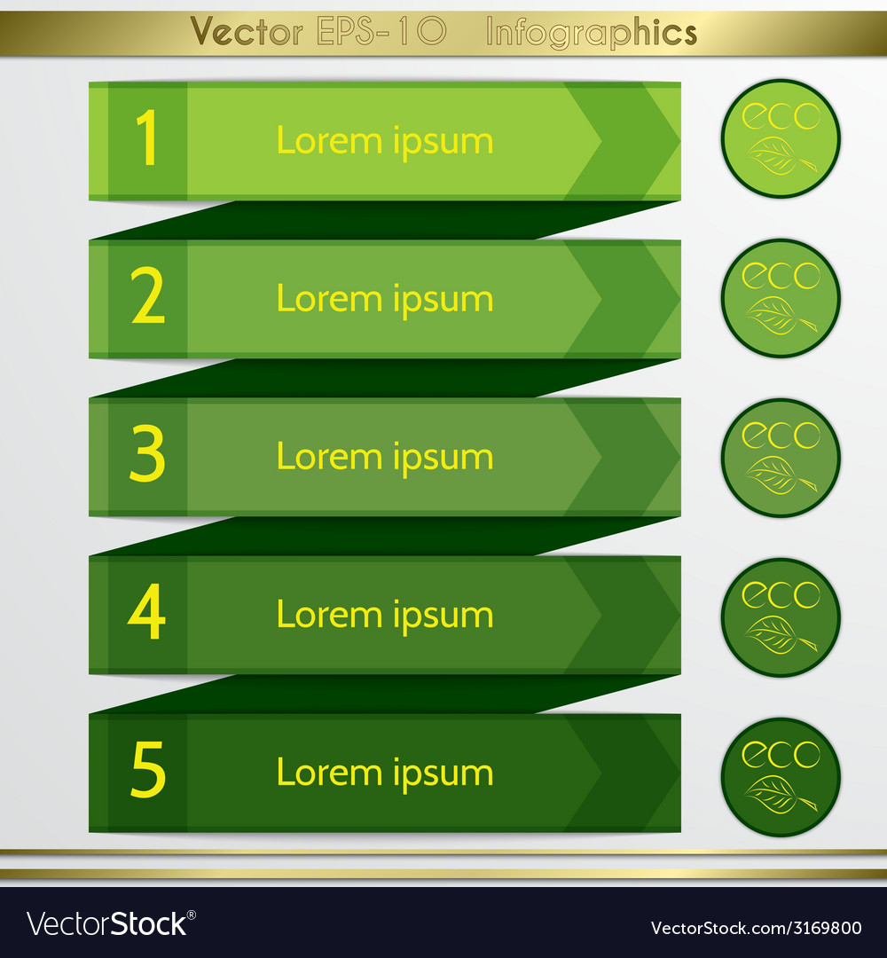Modern eco green list infographics elements vector | Price: 1 Credit (USD $1)