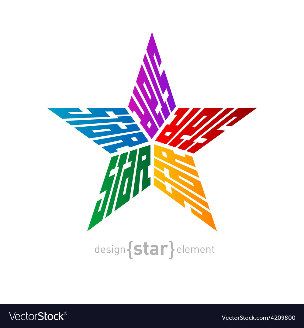 Original colorful star made of words design vector | Price: 1 Credit (USD $1)