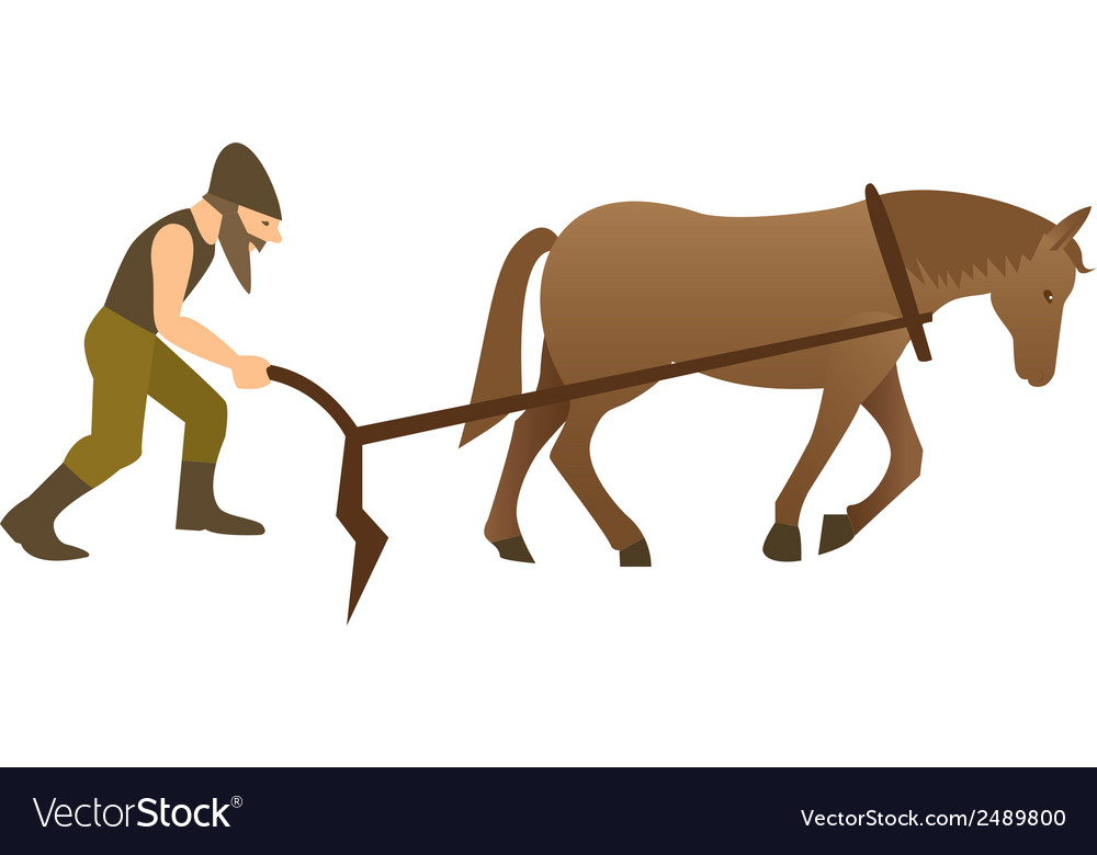 Plowman and horse with plow vector | Price: 1 Credit (USD $1)