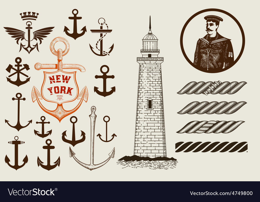 Set of marine and nautical elements vector | Price: 1 Credit (USD $1)