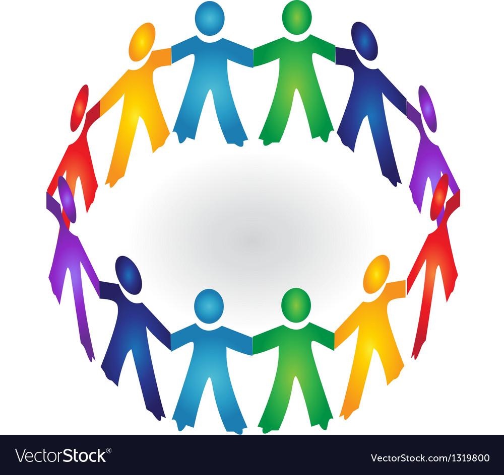 Teamwork holding hands logo vector | Price: 1 Credit (USD $1)