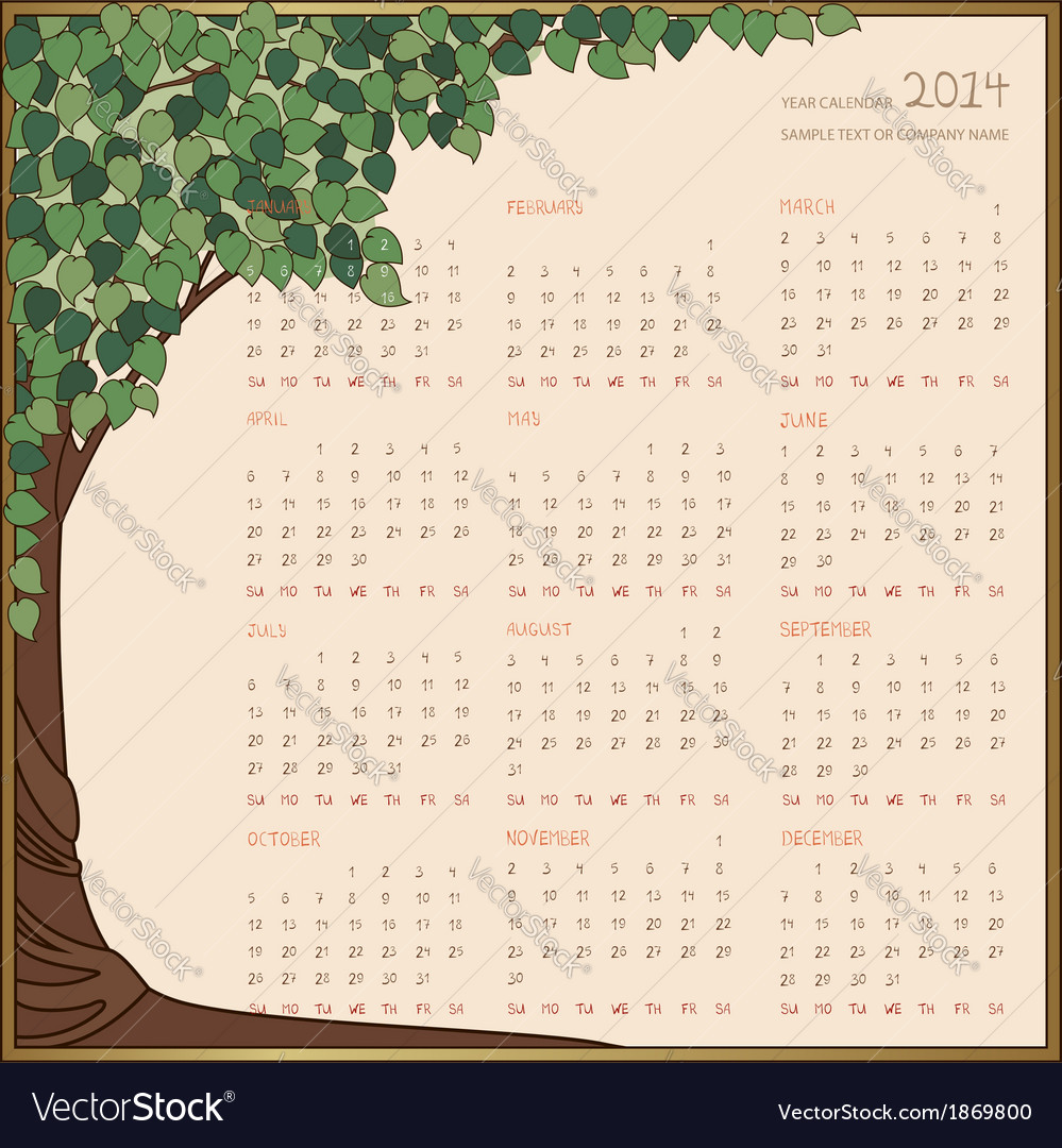 Tree frame calendar 1 page 2014 vector | Price: 1 Credit (USD $1)
