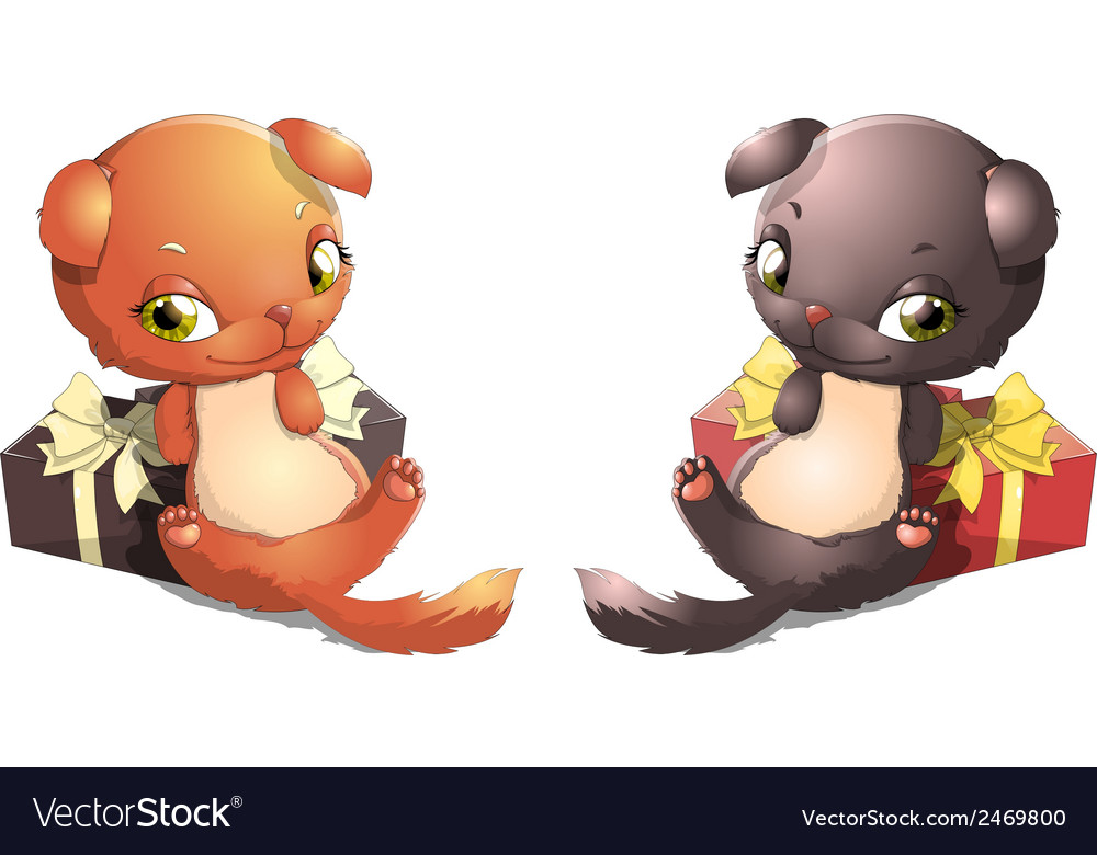 Two kitten and gift vector | Price: 1 Credit (USD $1)