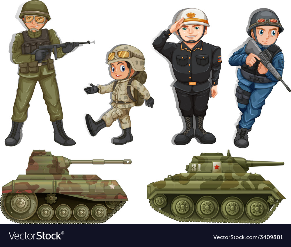 A group of soldiers vector | Price: 3 Credit (USD $3)