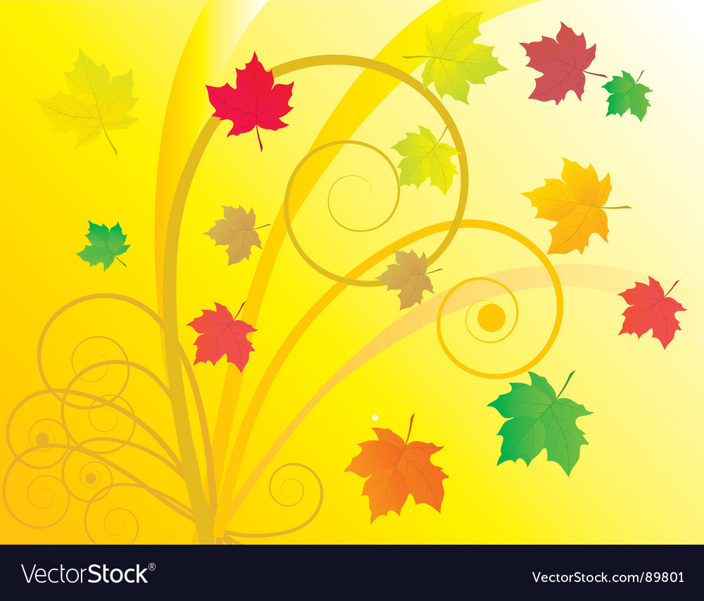Abstract background with autumn leaves vector | Price: 1 Credit (USD $1)
