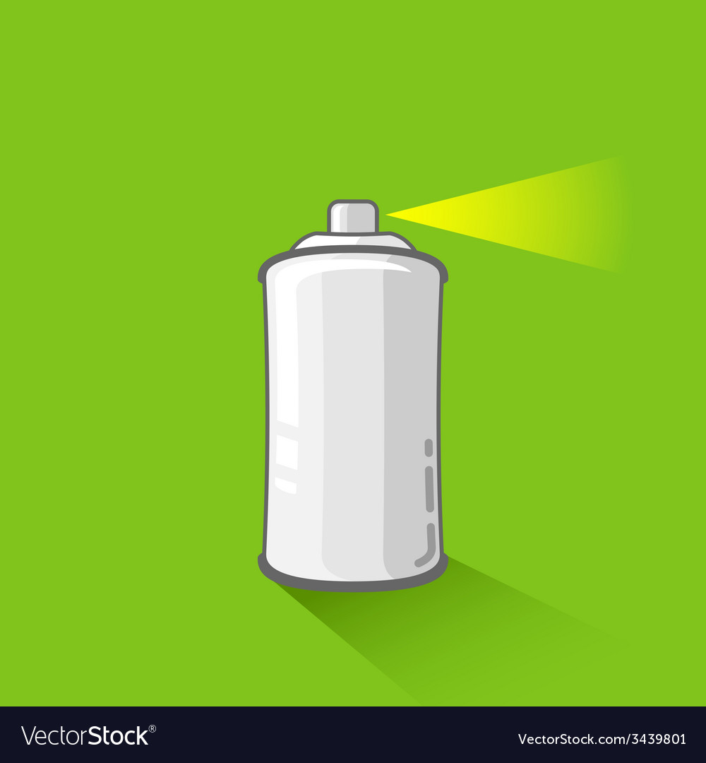 Aluminum spray can on green background aerosol vector | Price: 1 Credit (USD $1)