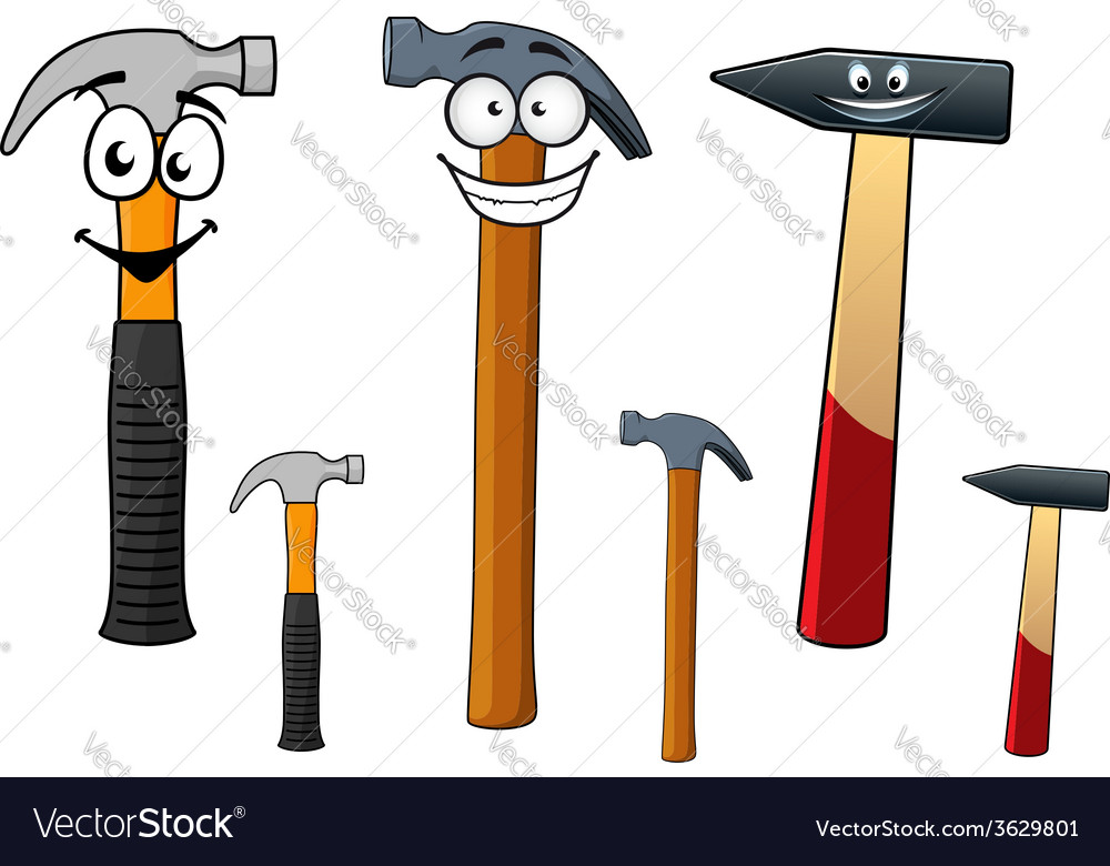 Cartoon hammers with smiling face vector | Price: 1 Credit (USD $1)