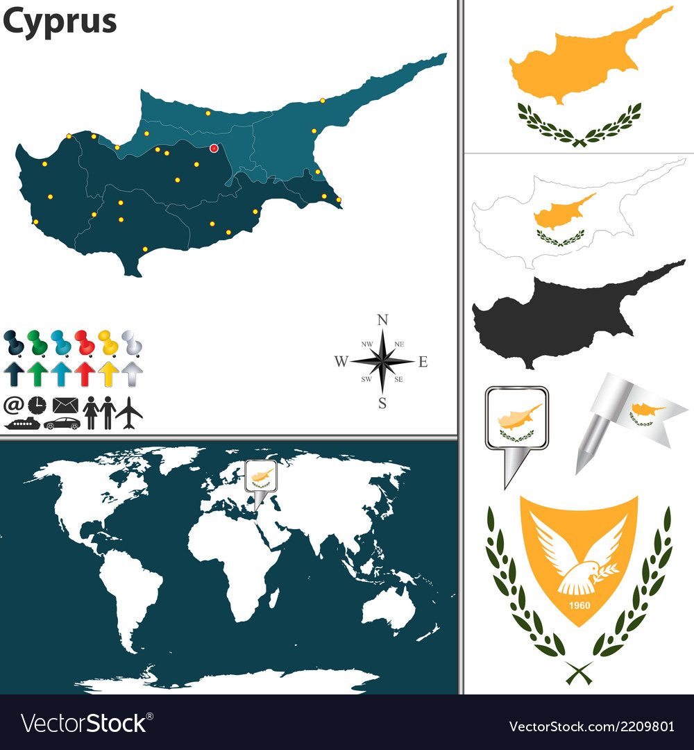 Cyprus map world vector | Price: 1 Credit (USD $1)