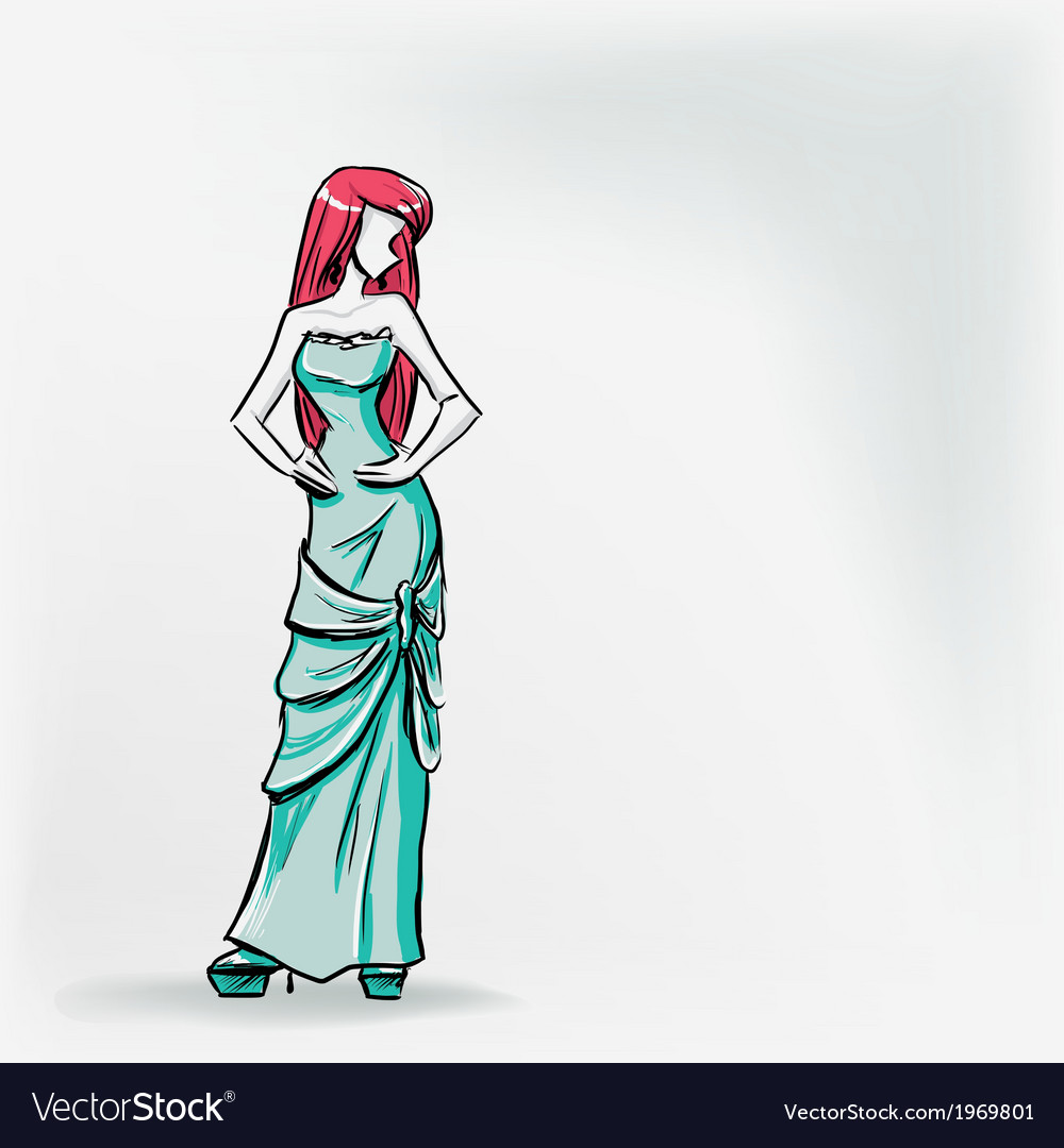 Elegant woman in long evening dress vector | Price: 1 Credit (USD $1)