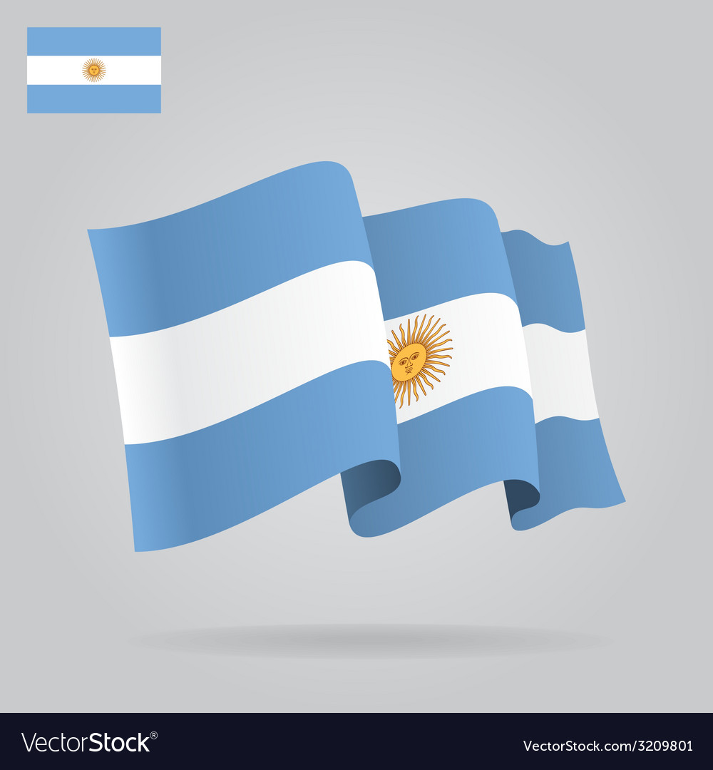 Flat and waving argentine flag vector | Price: 1 Credit (USD $1)