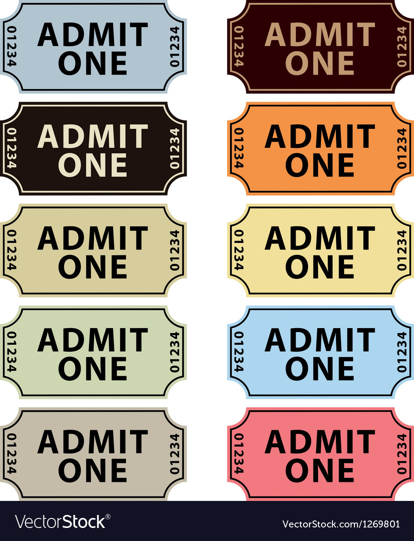 Old fashioned cinema tickets set vector | Price: 1 Credit (USD $1)