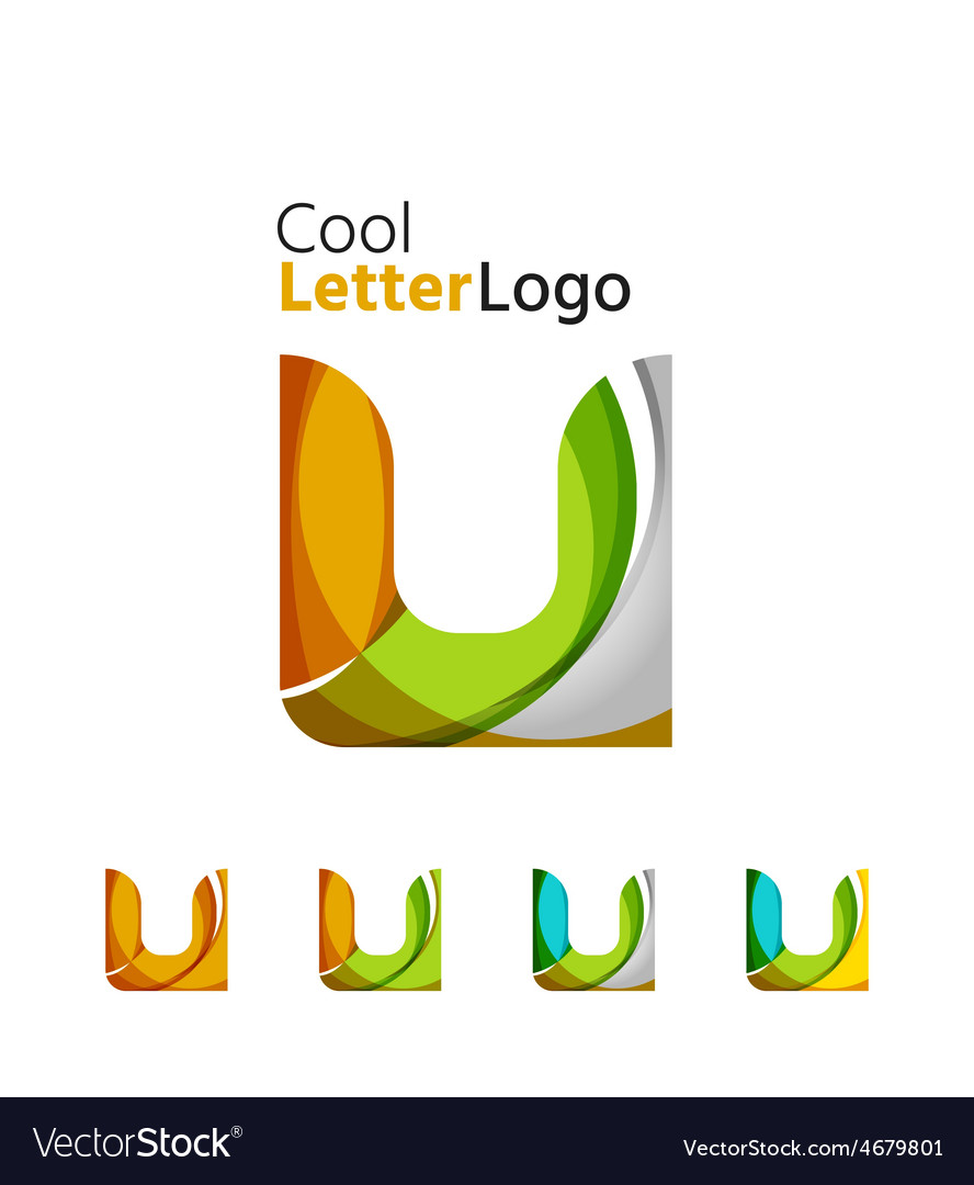 Set of abstract u letter company logos business vector | Price: 1 Credit (USD $1)