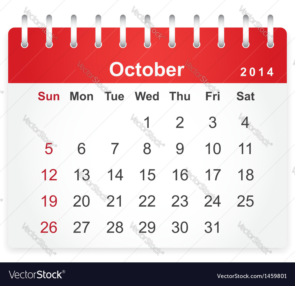 Stylish calendar page for october 2014 vector | Price: 1 Credit (USD $1)