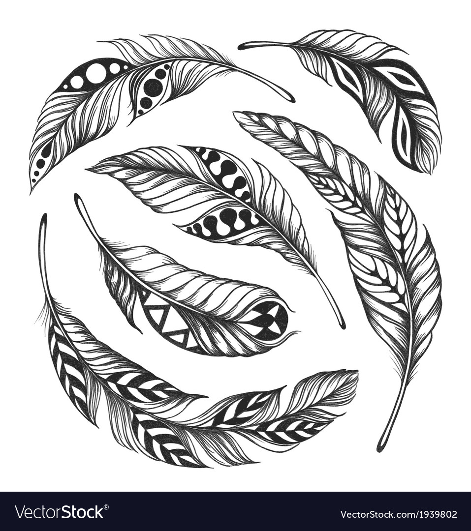 Black-on-white feather shaman circle ornament vector | Price: 1 Credit (USD $1)