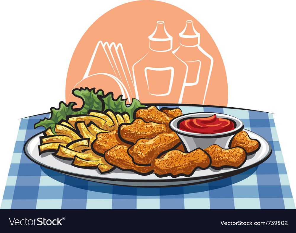 Breaded chicken nuggets and french fries with sauc vector | Price: 3 Credit (USD $3)