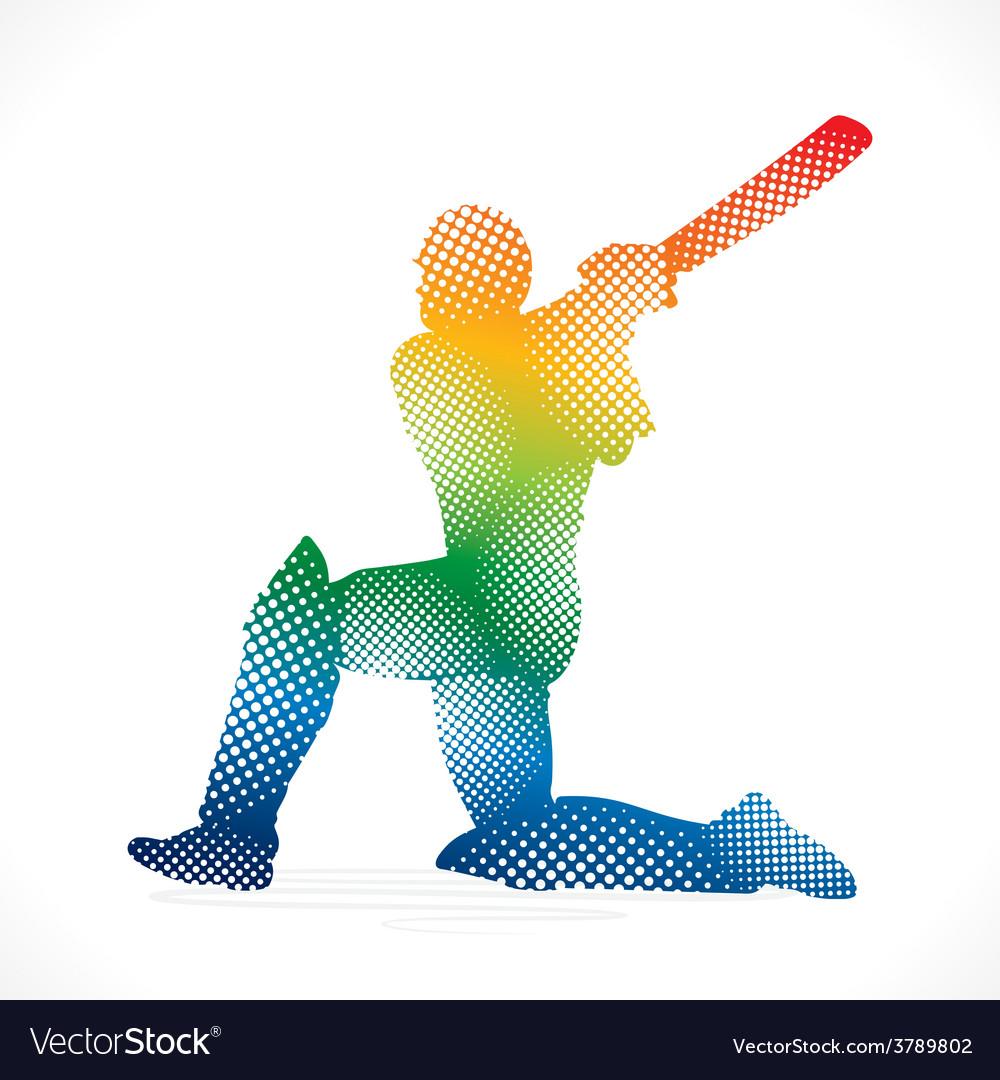 Cricket design by halftone concept vector | Price: 1 Credit (USD $1)