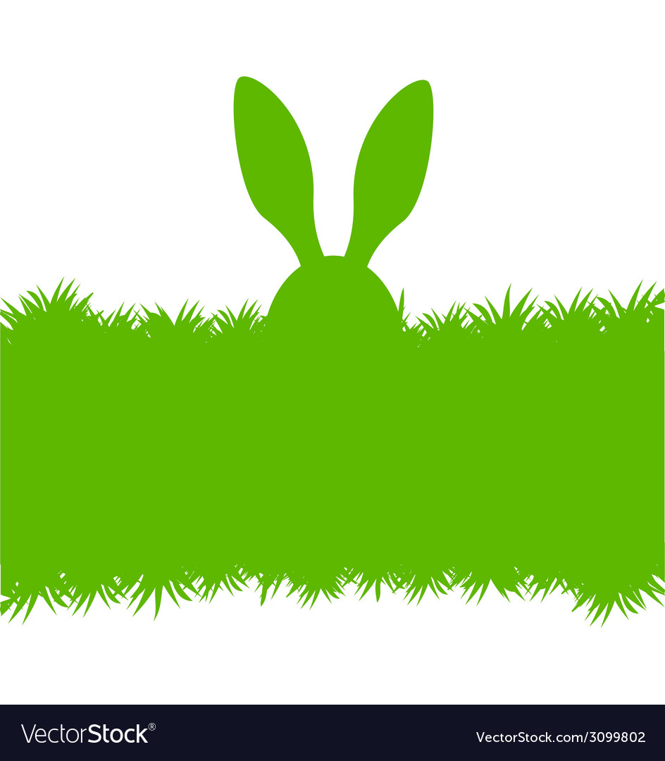 Easter bunny ears on grass greeting card vector | Price: 1 Credit (USD $1)