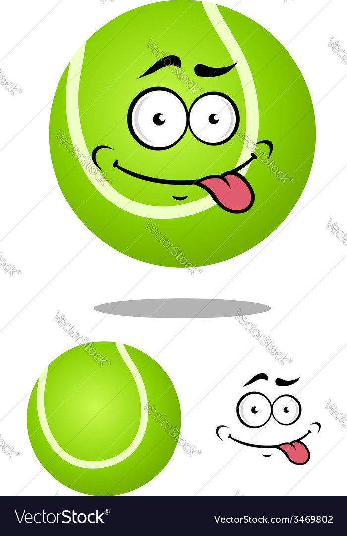 Green cartoon tennis ball with smiling face vector | Price: 1 Credit (USD $1)