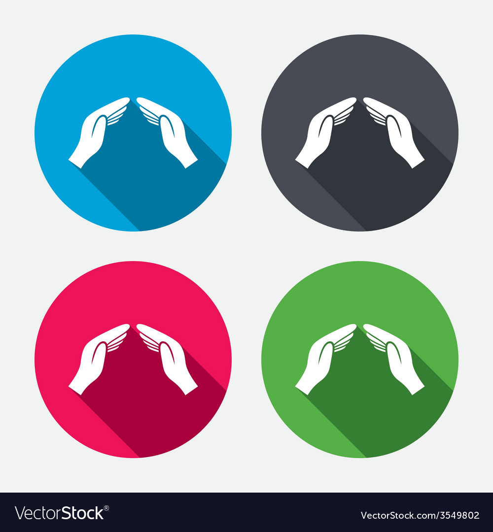 Hands protect cover sign icon insurance symbol vector | Price: 1 Credit (USD $1)