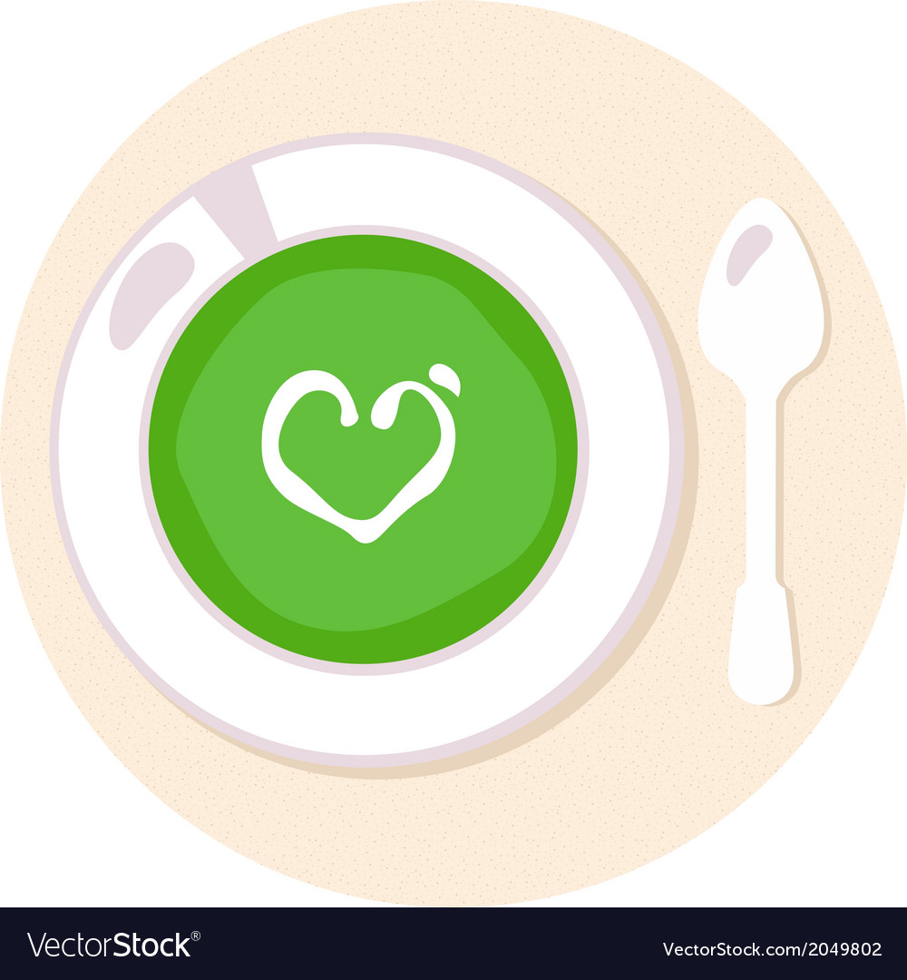 Healthy green spinach love soup in circle vector | Price: 1 Credit (USD $1)