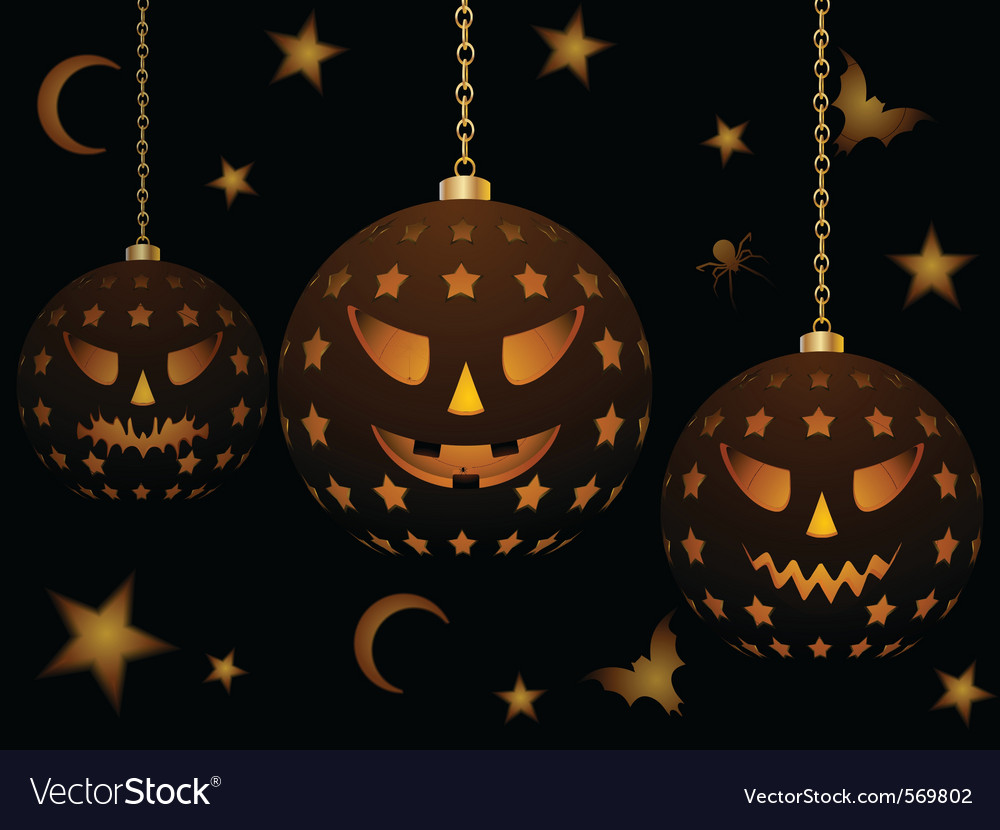 Lanterns with halloween faces vector   Price: 1 Credit (USD $1)