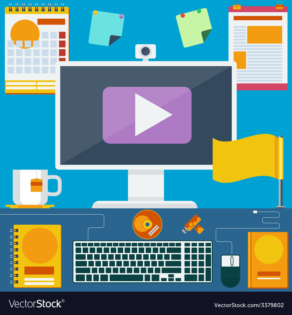 Modern creative office workspace vector | Price: 1 Credit (USD $1)
