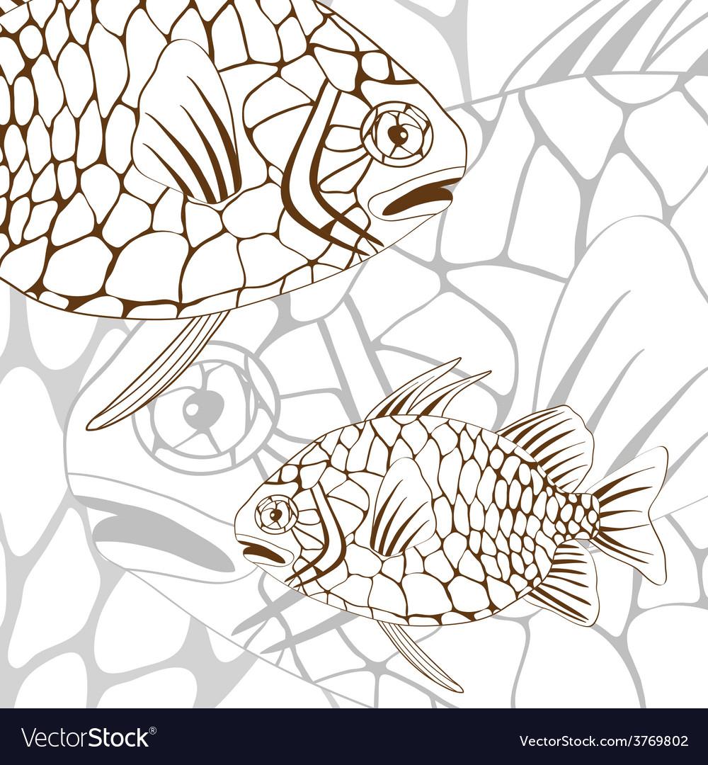 Pinecone fish vector | Price: 1 Credit (USD $1)