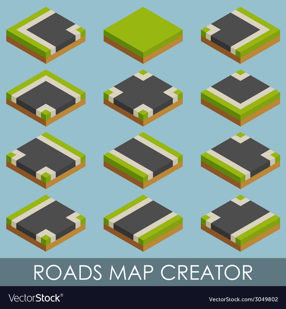 Roads map creator isometric vector | Price: 1 Credit (USD $1)