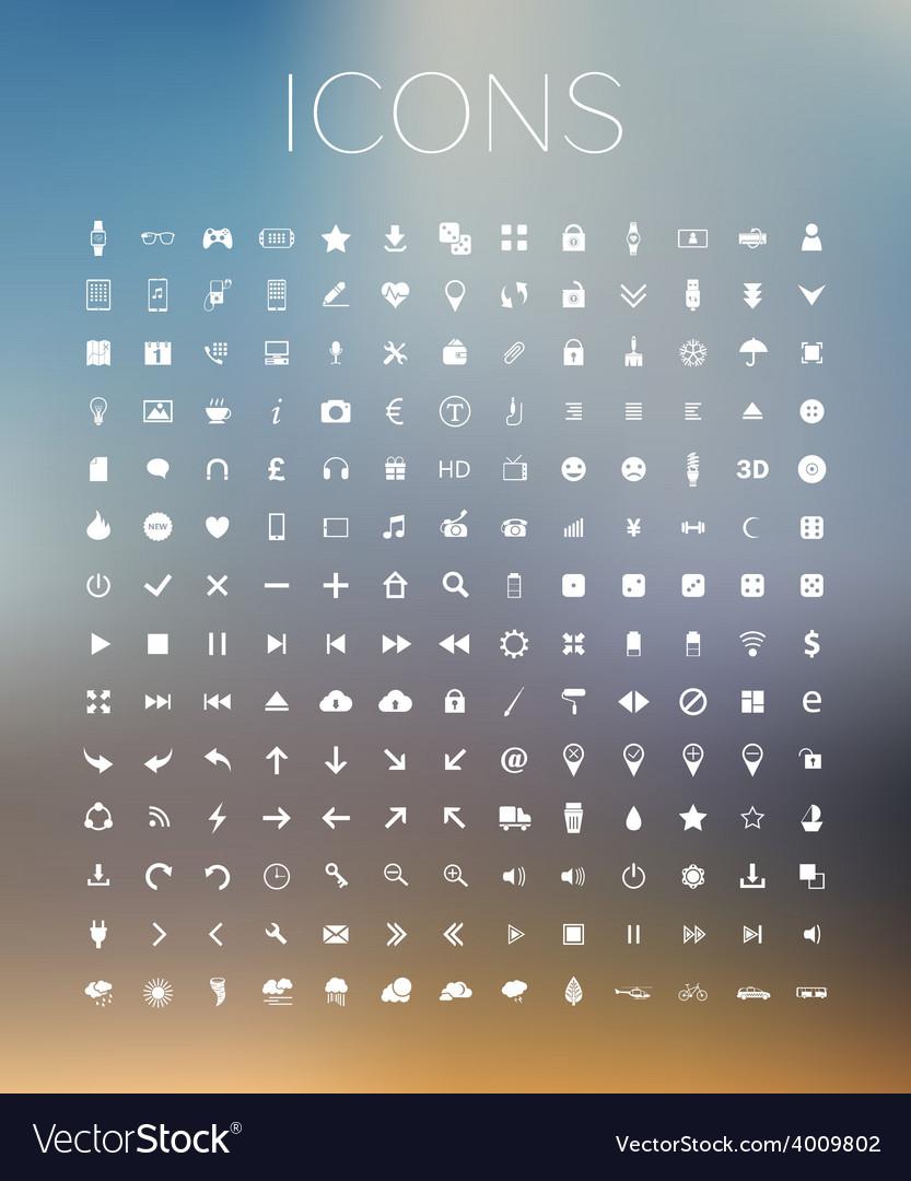 Set of icons on blurred background vector | Price: 1 Credit (USD $1)