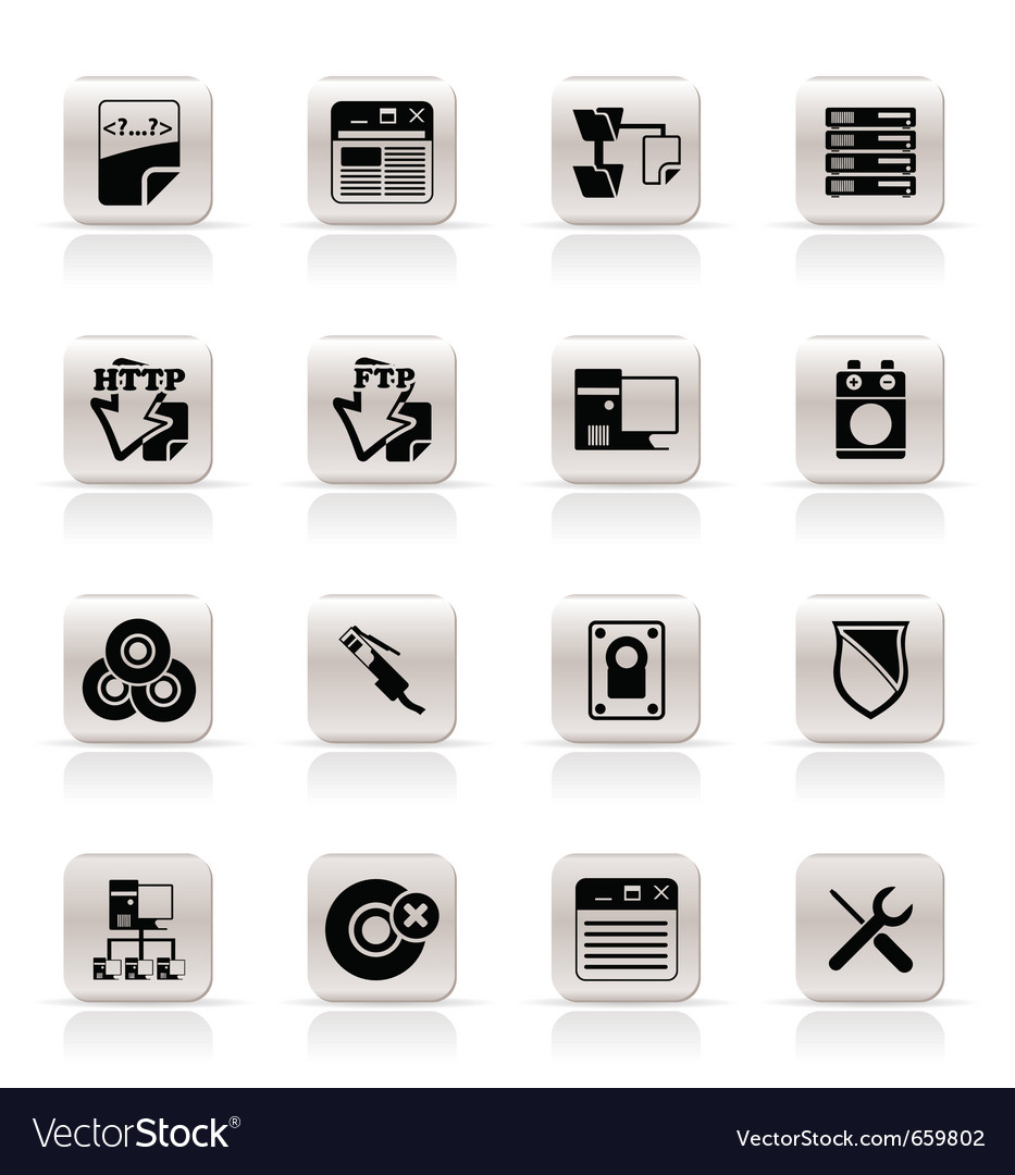 Simple server side computer icons vector | Price: 1 Credit (USD $1)