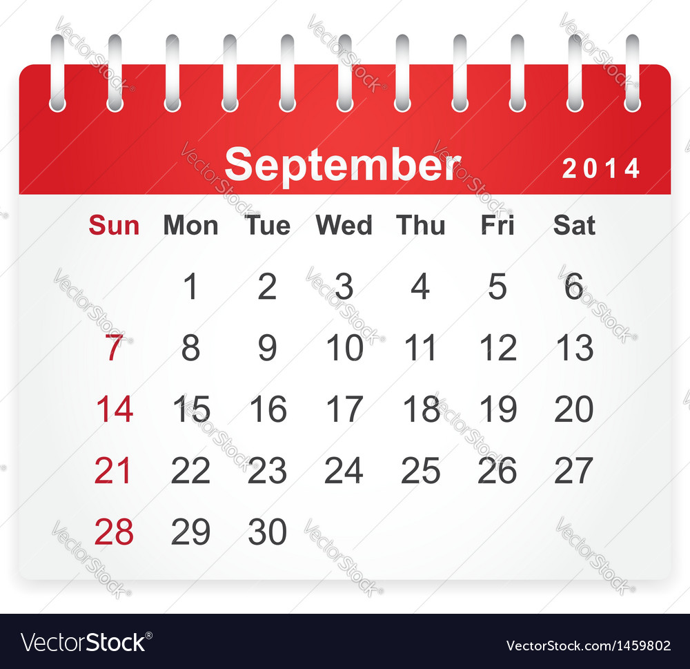 Stylish calendar page for september 2014 vector | Price: 1 Credit (USD $1)