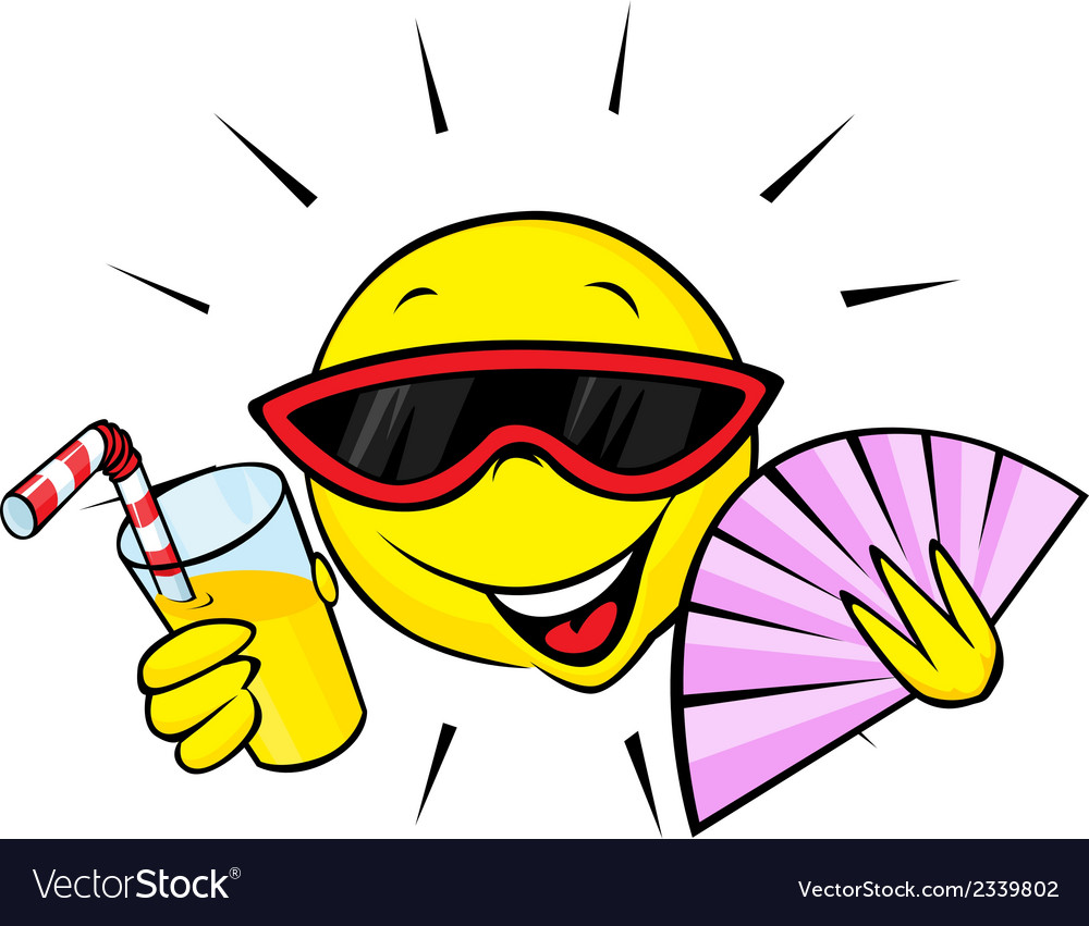 Summer sun with fan and orange drink vector   Price: 1 Credit (USD $1)