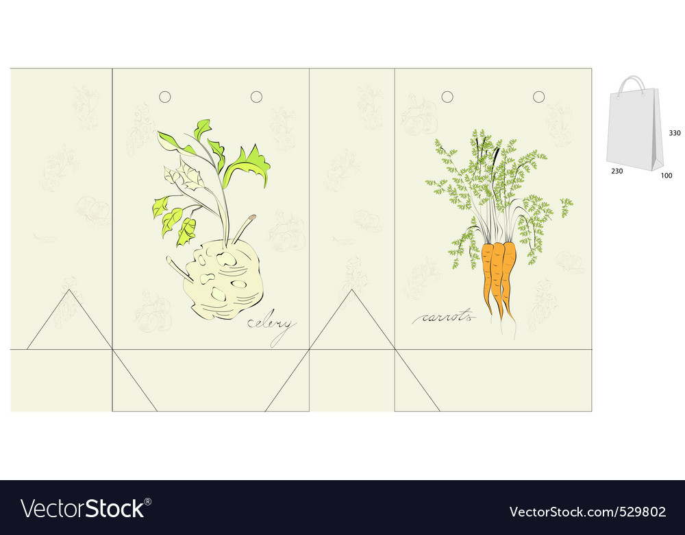 Template for bag with vegetable vector | Price: 1 Credit (USD $1)
