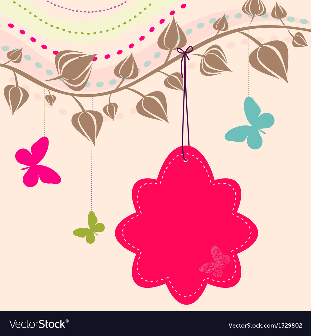 Vintage flower background vintage card vector | Price: 1 Credit (USD $1)