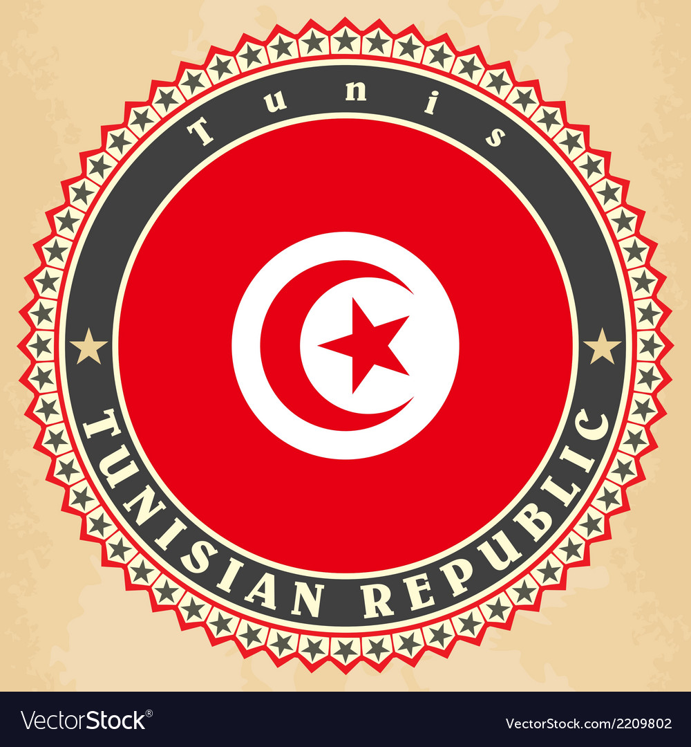 Vintage label cards of tunisia flag vector | Price: 1 Credit (USD $1)