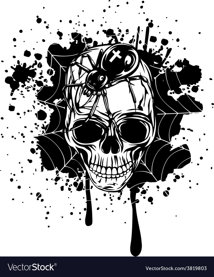 Abstract background skull spider and web vector   Price: 1 Credit (USD $1)